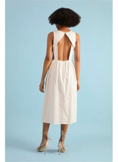 Z Giyim Kadın  İndigo  V Yaka Sırtı Dekolteli Pamuklu Elbise Taş